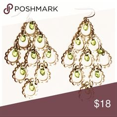 Final price! Chandelier Earrings Pretty silver chandeliers with small green beads. Very lightweight and fun! Jewelry Earrings