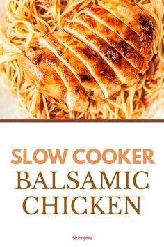 Slow cooker foods are a great way to pack a lot of flavor into lean chicken breast. The end result of this balsamic chicken recipe is a moist flavorful dish your entire family will love! Ww Recipes, Slow Cooker Recipes, Low Carb Recipes, Crockpot Recipes, Cooking Recipes, Slow Cooker Balsamic Chicken, Balsamic Chicken Recipes, Healthy Family Meals