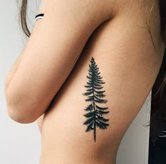 38 Trendy Ideas Pine Tree Tattoo Back Tatoo Tree Tattoo Side, Simple Tree Tattoo, Pine Tree Tattoo, Back Tattoo, Evergreen Tree Tattoo, Side Tat, Tattoo Hand, Trendy Tattoos, New Tattoos