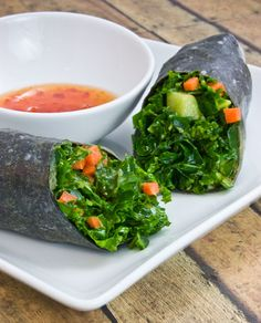 Kale Salad Wraps ... I love this alternative to a tortilla wrap. Just a sheet of nori and a spring roll rice paper. Fill it with whatever you want. Travels well for take-to-work-lunch. @Pascale De Groof
