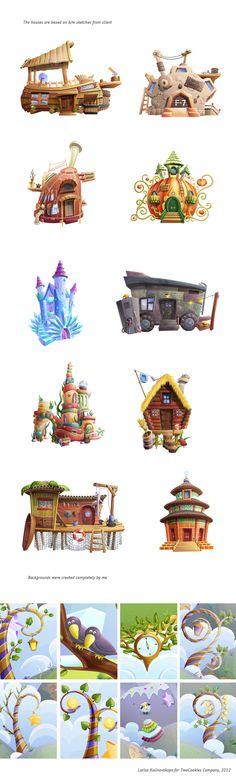 Happy Builder Buildings and backgrounds. by Larisa Kalinovskaya, via Behance Game Design, Prop Design, Environment Concept Art, Environment Design, Hansel Y Gretel, Game Props, Game Concept Art, 3d Max, Visual Development