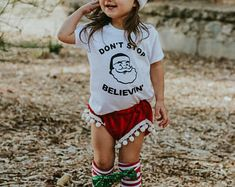 More colours Don't Stop Believin Toddler Shirt Baby Shirt Toddler Tee Baby Girl Clothing Baby Shirt Baby Clothes Toddler Christmas Shirt HappyJaxApparel Toddler Christmas Dress, Christmas Dresses, Christmas Shirts, Heather Gray, Baby Shirts, Girl Clothing, Toddlers, Girl Outfits, Colours