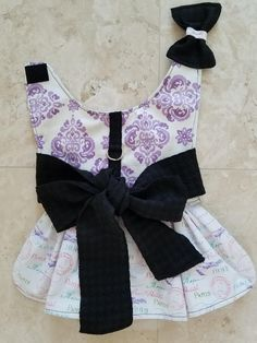 Gorgeous Designer Dog Dress-White, Purple Paris print XS,S,M ~Pet Clothes ~Small Dog ~Puppy ~Spring ~Summer ~Harness ~fancy by K2Kreates on Etsy