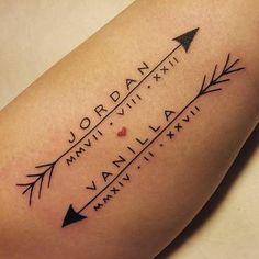 Children's name & birth date tattoo...very dope