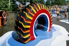 Interesting DIY ideas for making your child happy, you can create many playground stuff for your kids by recycling old and waste tires. Tire Playground, Kids Indoor Playground, Playground Ideas, Tyres Recycle, Recycled Tires, Recycled Crafts, Repurpose, Tire Craft, Painted Tires