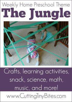 Jungle Theme Homeschool Preschool. Crafts, music, math activities, gross motor activities, picture books, and more! Perfect amount of activities for one week of EASY home pre-k.