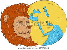 Drawing sketch style illustration of a lion head with flowing mane looking to the side with middle east and asia map globe set on isolated white background.   #lion #globe #sketch #illustration