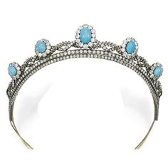 A turquoise and diamond belle epqoue tiara, 1880s. Formerly part of the…
