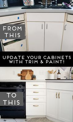 Laminate kitchen cabinets - How to Add Trim and Paint Your Laminate Cabinets – Laminate kitchen cabinets Update Kitchen Cabinets, Diy Cabinets, Updating Cabinets, Kitchen Counters, Kitchen Laminate, Kitchen Reno, Kitchen Sinks, Melamine Cabinets, Kitchen Cabinets Without Trim