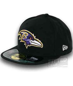 reputable site 933fe 77325 Baltimore Ravens on Field Black Sideline New Era 59Fifty NFL Fitted Hats Cap    eBay New