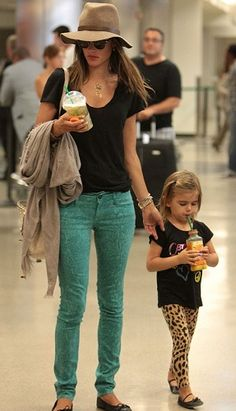 Alessandra Ambrosio's with her daughter Anja Mazur and her ADORABLE leopard leggings!