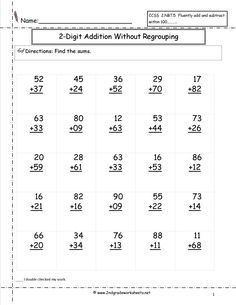 free addition printable worksheets | two digit addition with no regrouping worksheet