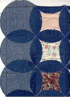 Quilt Inspiration: Faux cathedral windows from denim jeans - Quilts - Denim Quilts, Denim Quilt Patterns, Blue Jean Quilts, Machine Quilting Patterns, Sewing Patterns Free, Free Pattern, Pattern Sewing, Sewing Tutorials, Bag Patterns