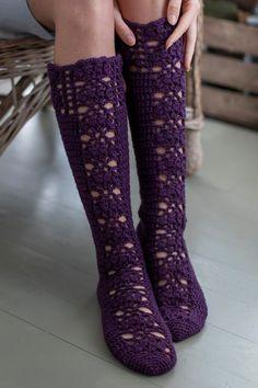 An adventurer will love the deep aubergine colour of these stunning socks, crocheted from Novita 7 Veljestä. Crochet Slippers, Knit Crochet, Aubergine Colour, Knitting Patterns, Crochet Patterns, Pattern Library, Alpacas, Crochet Fashion, Leg Warmers