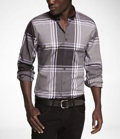 PLAID FITTED MILITARY SHIRT at Express