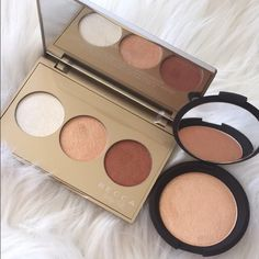 Becca Champagne Glow Holiday Palette Limited edition Jaclyn Hill highlighter palette. These are completely sold out at Sephora and are not being restocked. This palette comes new in box (never used or swatched. Swatched photo is from my personal one). Placed next to the full size champagne pop for size comparison. Colors are: Pearl, Champagne Pop, and Blushed Copper. ABSOLUTELY NO TRADES Becca Makeup