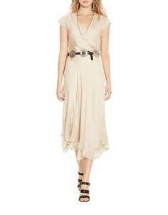 Polo Ralph Lauren Silk Gauze Wrap Dress Women\u0027s Natural 6