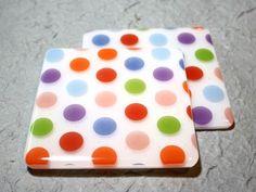 Polkadot Parade Fused Glass Coasters. £20.00, via Etsy.