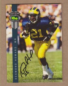 706fc1706 Desmond Howard signed 1992 Michigan Wolverines Classic 4-Sport FB  card 76Heisman Desmond Howard