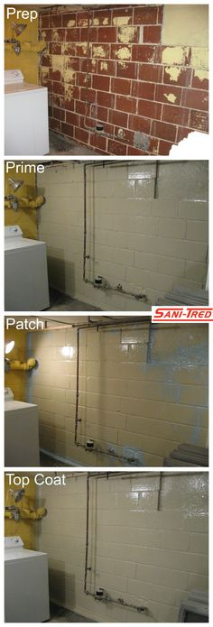 """Home Renovation Basement Basement Waterproofing - DIY this weekend. A solution that actually works! - Discover the """"Holy Grail"""" of basement waterproofing: SANI-TRED. Seal your basement from moisture with SANI-TRED's DIY basement waterproofing sealant. Basement Makeover, Basement Renovations, Home Renovation, Home Remodeling, Basement Ideas, Rustic Basement, Basement Decorating, Basement Layout, Decorating Ideas"""