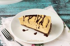 Enjoy this yummy low carb no bake peanut butter cheesecake any time of year. The gluten free crust is sweetened blend of almond flour, cocoa, and butter.