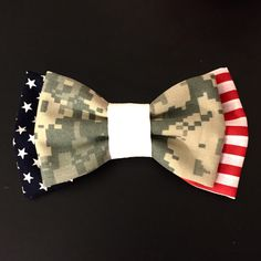 Flag and Military Camo Bow (Army, Marines, Navy, Air Force) by PatrioticBows on Www.patrioticbows.com