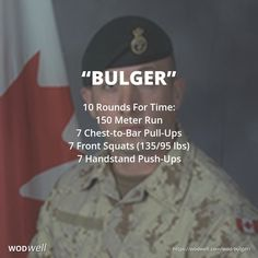 """Bulger"" WOD - 10 Rounds For Time: 150 Meter Run; 7 Chest-to-Bar Pull-Ups; 7 Front Squats (135/95 lbs); 7 Handstand Push-Ups"