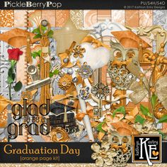 Graduation Day - Orange Page Kit :: Coordinates with the entire Graduation Day Digital Scrapbooking Collection by Kathryn Estry @ PickleberryPop  $7.99