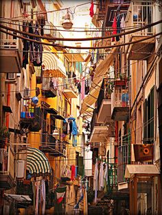 The streets of Naples Italy