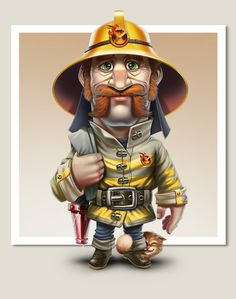 Best-Lock characters by Goga Djalagania, via Behance Firefighter Humor, Firefighter Apparel, Game Character Design, Character Concept, 3d Cartoon, Cartoon Drawings, Foto 3d, Animation 3d, Image Digital