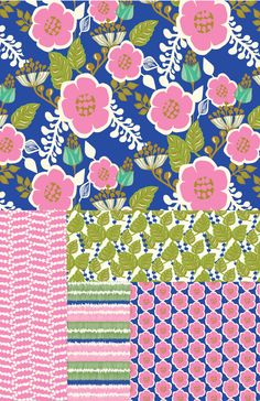 Pink and Green Floral Collection, Amy Reber Designs