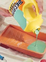 DIY Tip - Better Paint Storage. Make pouring & storing paint a breeze. Save your liquid laundry detergent jugs & wash them out. You won't find a better way to store paint. No more rusty lids, paint splatters from tapping the lids closed, dried-out paint or runs down the side of the can when pouring. The spout works great for dispensing paint. Just fill the jugs using a funnel and label the container like you see on the picture .