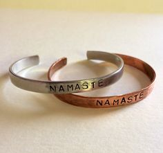 Hey, I found this really awesome Etsy listing at https://www.etsy.com/listing/190128283/namaste-stamped-cuff-yoga-jewelry