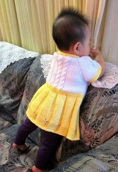 Seamless Yellow Baby Sweater Dress. Free Knitting Pattern!