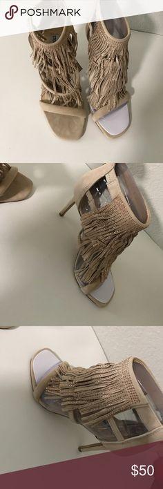 Steve Madden Fringe rhinestone heels Worn once. Shoes Heels