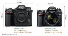 Nikon D500 vs Nikon D7200 Camera Size Comparison - Front View