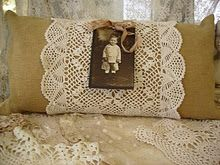 Burlap Pillow...with lacy doily, vintage photo, &...piece of ribbon.