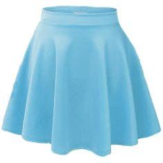 ACEVOG Women's Stretch Waist Flared Skater Skirt Dress Mini Skirt 15... ($8.99) ❤ liked on Polyvore