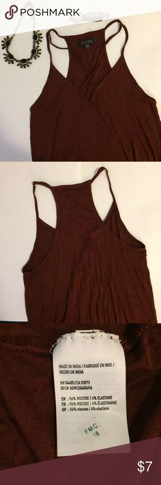 ❤️3 for $12❤️ AE Soft and sexy rust tank Super trendy, rust-colored tank with cross-cross straps in the front. Very good condition. 📦 bundle and save! American Eagle Outfitters Tops Tank Tops