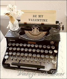 Typewriter Valentine's Decoration by Vintage with Laces