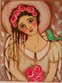 """Sweet Angel with Roses 16"""" x 12"""" acrylic painting by Marguerite by OneWildSwan on Etsy"""
