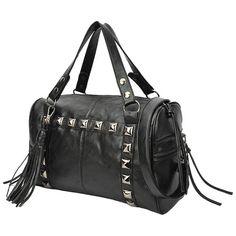 PARLEY Studded Black Top Double Handle Doctor Style Tote Shopper Hobo Satchel Handbag Purse Shoulder Bag by Top Brand Name Handbags