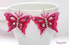 Náušničky motýlikové-ružové :) by lucy_mnau - SAShE.sk - Handmade Náušnice