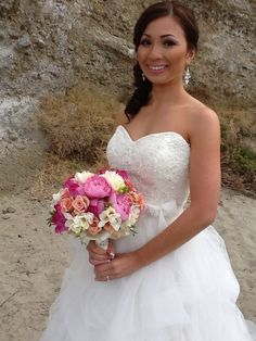Elegant Bridal Bouquet with Pink Peonies and Blush Roses By Tustin Florist