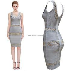 Herve Leger Grey U-neck Beads Bandage Dress HL722G