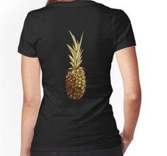 'Golden pineapple' Fitted V-Neck T-Shirt by Sonia Vinograd Guidotti Chiffon Tops, V Neck T Shirt, Classic T Shirts, Hoodies, Fitness, Mens Tops, Stuff To Buy, Fashion, Shopping
