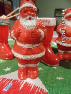 7 VINTAGE HARD PLASTIC 4 RED SANTAS 3 BOOTS CHRISTMAS ORNAMENTS CANDY CONTAINERS | #1839171059
