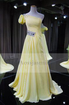 Elegant one shoulder one cap sleeves beading chiffon prom dress