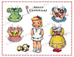Christmas Paper Doll, Instant Download, Printable Digital Collage Sheet, Vintage Greeting Card Girl.