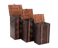 Set de 3 arcones en madera de abeto – natural y marrón